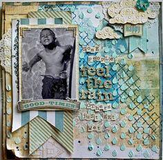 #papercraft #scrapbook #layout    Scrapbook.com Layout: Feel The Rain- SCRAPS OF ELEGANCE APRIL KIT