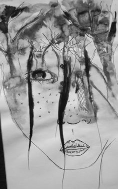 Inspired by a double exposure photography. Black chinese ink and pen.