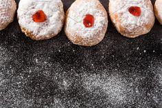 Traditional Jewish donuts for Hanukkah. Hanukkah Traditions, Kwanzaa, Different Holidays, Donuts, Traditional, Menu Templates, Desserts, Christmas, Chalkboard