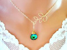 Blue Green Neckalce Gold Wedding Jewelry by InStyleBoutique