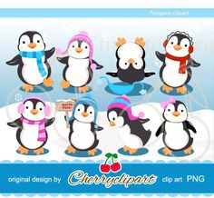 Cute Playful Penguins digital clipart for-Personal and Commercial Use-paper crafts,card making,scrapbooking,and web design on Etsy, $5.00