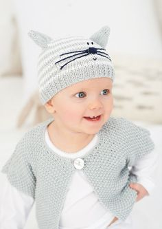 Free knitting pattern: baby hat & cardigan