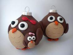 Owl Family Christmas Decorations by Sleepydenas on Etsy