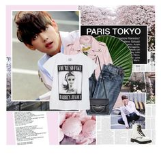 """301:Taehyung"" by unicorn-plushie ❤ liked on Polyvore featuring Again, Cullen, Schott NYC, J.Crew, Maison Margiela and Dr. Martens"