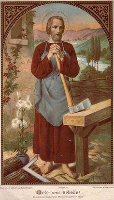 Saint Joseph the Worker. Catholic Art, Catholic Saints, Roman Catholic, Religious Photos, Religious Art, St Joseph, Vintage Holy Cards, Christian Artwork, Holy Family