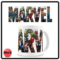 Marvel logo mug, spiderman, wolverine, X men, Avengers, Iron man, Cap America