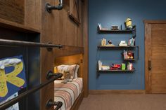 HGTV: Designer Angelica Henry created a fun bedroom for energetic kids that includes fort-style bunk beds, plenty of storage space and a dedicated study area, all with a stylish rustic-industrial vibe.