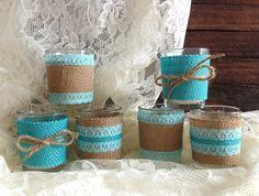 burlap and lace tiffany blue votive tea candles wedding, tea party, bridal shower decoration
