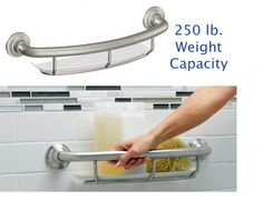 Grab Bars Shower Rails Safety Handle Shelf Handicap Bathroom Bath Bar Tub Grip Product Description: The Designer Corner Shelf with Grab Bar joins security and accommodation with style and refinement. Ada Bathroom, Handicap Bathroom, Bathroom Safety, Small Bathroom, Master Bathroom, Bathroom Ideas, Bathroom Shelves, Mosaic Bathroom, Gold Bathroom
