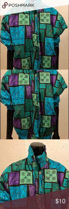 Vintage Multi-Color Floral Patch Windbreaker Vintage Multi - Color Floral Patch Windbreaker Vintage Jackets & Coats Utility Jackets
