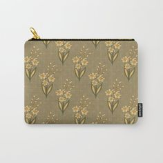 Perfect gift idea! It can be used for toiletries, art supplies, makeup and smaller electronics. Carry-all pouch is avilable in different sizes. | #pouch #society6 #murkydesign #pattern #patterndesign #floral #blossom #vintage #retro #green #yellow Retro Floral, Art Supplies, Carry On, Pattern Design, Zip Around Wallet, Pouch, Electronics, Yellow, Makeup