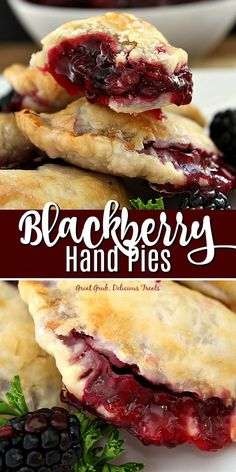 Blackberry Hand Pies - Great Grub, Delicious Treats Blackberry Hand Pies are delicious hand held mini pies packed full of fresh blackberries then baked to perfection. Blackberry Recipes, Fruit Recipes, Cooking Recipes, Mini Pie Recipes, Blackberry Sauce, Easy Recipes, Köstliche Desserts, Delicious Desserts, Yummy Food
