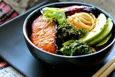 Udon Noodle Bowl with Miso-Honey Glazed Salmon with Kale and Avocado | FingerForkKnife