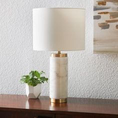 MoDRN Glam Cylinder Marble Table Lamp Image 6 of 9