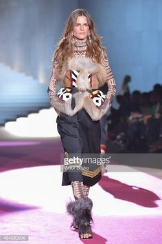 Model Izabel Goulart walks the runway at the Dsquared2 show during the Milan Fashion Week Autumn/Winter 2015 on March 2, 2015 in Milan, Italy.