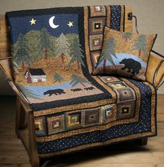 midnight bear quilt and pillow set Rustic Quilts, Log Cabin Quilts, Quilt Baby, Boy Quilts, Quilting Projects, Quilting Designs, Quilting Ideas, Diy Quilting, Rugs
