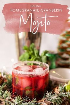 Want a unique holiday cocktail? This Pomegranate-Cranberry mojito is my favorite Christmas party cocktail out there! This festive holiday drink can also be turned into a fabulous Christmas mocktail! #Christmas Christmas Mocktails, Christmas Cocktail Party, Christmas Parties, Winter Drinks, Holiday Cocktails, Summer Drinks, Pomegranate Mojito, Non Alcoholic Drinks, Beverages