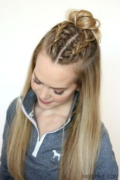 Summer is nearly here so I thought it'd be the perfect time to feature a few hairstyles that would be great for the gym, playing sports, or even worn as a heatless style! These three all incorporate your basic dutch braid or french braid and are easy to recreate. If you haven't learned these two specific braids yet then you better get started, summer's almost here! Double French Braid Buns Instructions: Step 1 / Brush through the hair and part it where you normally would. I have mine in a di... Hair Dos For Kids, Dreadlocks, Dreads, Box Braids