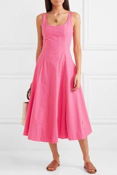 STAUD | Wells cotton-blend poplin midi dress | NET-A-PORTER.COM