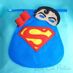 Infant Baby Superman Cape Mask and Cuffs by FatCatParties on Etsy