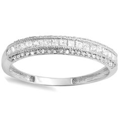 <li>Princess and round diamond wedding band</li> <li>14-karat white gold jewelry</li> <li><a href='http://www.overstock.com/downloads/pdf/2010_RingSizing.pdf'><span class='links'>Click here for ring sizing guide</span></a></li>