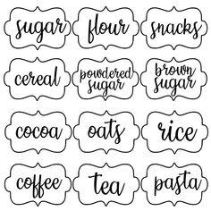 Pantry Organization, Organized Pantry, Organizing Labels, Organizing Ideas, Pantry Labels, Kitchen Canister Labels, Cricut Tutorials, Cricut Ideas, Clear Labels
