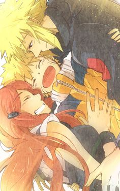 Minato, Naruto and Kushina. Awww! Look at this family! ;_;