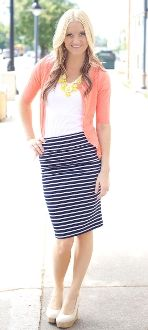 Navy and white striped pencil skirt, adorable!!