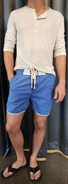 Bustle cotton henley $85, Zanerobe blue board short $85, John Varvatos sandals $120 all from Gotstyle Menswear.