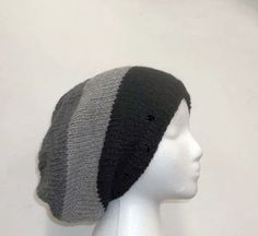 Slouchy beanie wool hat black gray stripes hand knit - The colors in these stripes are black, light gray, dark gray. This wool hat is made with a soft 100% pure new wool yarn. Completely hand knitted. Worn by men and women. Medium thickness, very stretchy, will fit any head, will stretch out to 31 inches around Available at:  http://www.CaboDesigns.etsy.com