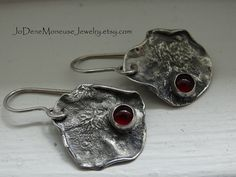 Rustic Red Carnelian torch textured earrings in sterling silver $45.00 by JoDeneMoneuseJewelry
