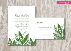 Lily of the valley wedding Invitation-Digital wedding invitation-Printable wedding invitation set-Custom wedding invitation-vintage floral by Linvit on Etsy