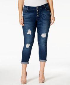 Rocks & Indigo Plus Size Ripped Cropped Baltimore Wash Jeans
