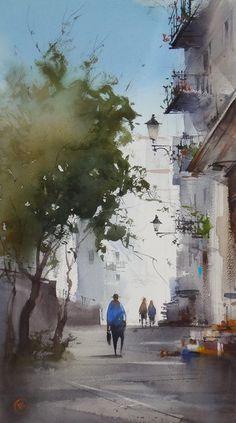 Ilya Ibryaev plein air in Spain - watercolor 35х53 cm