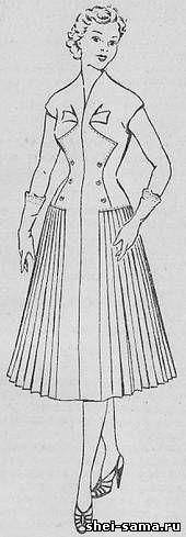 Платье с фигурным пластроном и отделочным бантом от мягких складок - Сто фасонов женского платья - Всё о шитье