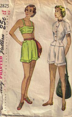 Vintage 1940s Simplicity 2825 Sewing Pattern Bra by PeoplePackages, $10.95