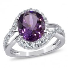 Viola Collection, Amethyst and White Topaz Sterling Silver Ring