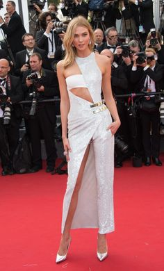 Karlie Kloss, in Atelier Versace at the Cannes Film Festival