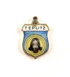 Silber Bettelarmband Anhänger Wappen Silver Pendant Shield Fob Antik Charm Schmuck & Accessoires