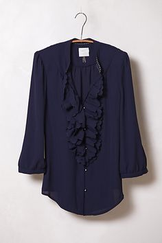 I realize this is totally the pirate shirt from Seinfeld in a different color, but I'm still drawn to it!  Ruffled Picea Buttondown #anthropologie