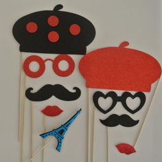 Parisian Inspired Wedding Photo booth props by weddingphotobooth, $21.99