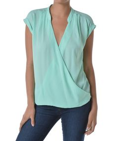 Another great find on #zulily! Mint Surplice Drape Top by Adrienne #zulilyfinds