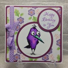 Tim Holtz Bird Crazy card, coloured with Spectrum Noir alcohol markers. Made by Justine Pearmain