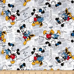 Disney Mickey Vintage Mickey & Minnie All over the News White from @fabricdotcom  Designed by Disney and licensed to Springs Creative Products, this cotton print is perfect for quilting, apparel and home decor accents.  Colors include black, white, grey, yellow, blue and red.