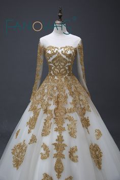 ==> [Free Shipping] Buy Best 2017 Stunning Muslim Wedding Dresses Gold Beading Appliques Sweep Train Scoop Long Sleeve Ball Bridal Gowns Tulle Robe de Online with LOWEST Price | 32813386512