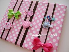 HairBow Holder Fabric Board Brown and pink