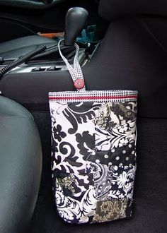 Tutorial for car trash bag–includes insert so disposable plastic bags can be used