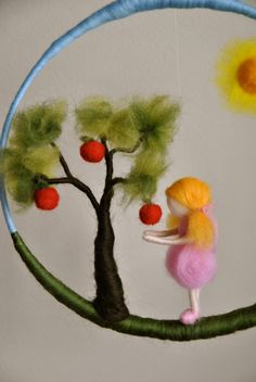 Items similar to Waldorf inspired needle felted doll mobile: Girl in pink with apple tree on Etsy Fuzzy Felt, Embroidery Hoop Crafts, Waldorf Crafts, Autumn Wreaths, Apple Tree, Felt Hearts, Felt Dolls, Needle Felting, Needlework