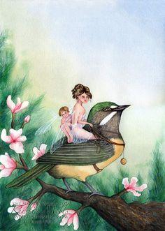 Fairy warbler fairy art by kirstin mills, fairy tales, fairies and fantasy art and Elfen Fantasy, Fantasy Art, Fantasy Fairies, Fantasy Creatures, Mythical Creatures, Fairy Land, Fairy Tales, Disney Concept Art, Love Fairy