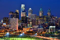 Philadelphia skyline in early evening. Pennsylvania, USA.